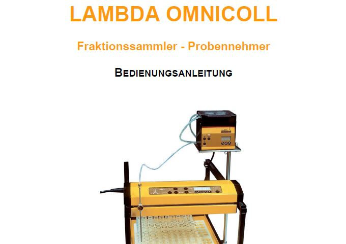 Bedienungsanleitung / Handbuch Fraktionssammler LAMBDA OMNICOLL